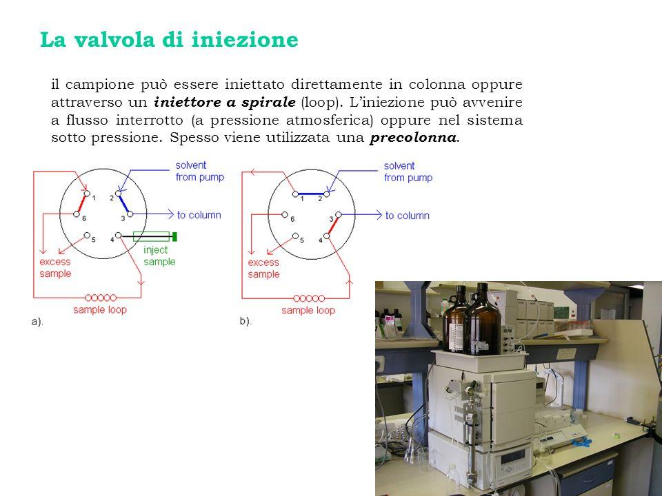 La valvola di iniezione il campione può essere iniettato direttamente in colonna oppure attraverso un iniettore a spirale (loop). Liniezione può avven