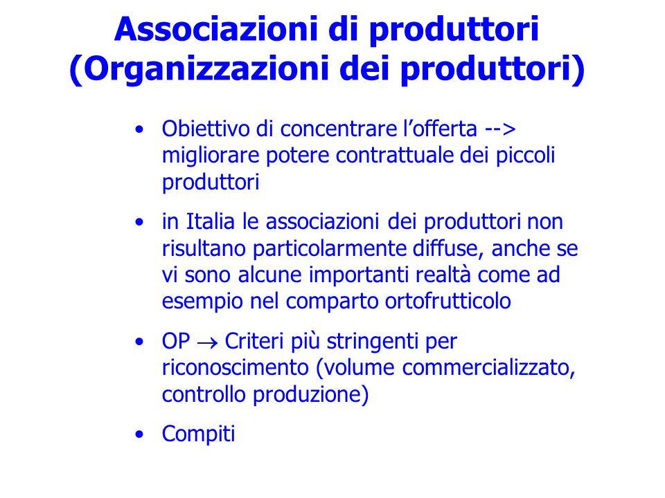 Associazioni di produttori (Organizzazioni dei produttori) Obiettivo di concentrare lofferta --> migliorare potere contrattuale dei piccoli produttori