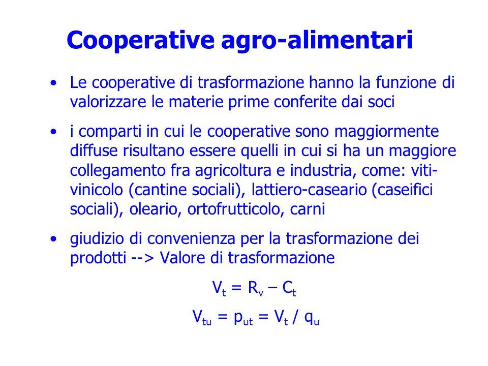 Cooperative agro-alimentari Le cooperative di trasformazione hanno la funzione di valorizzare le materie prime conferite dai soci i comparti in cui le