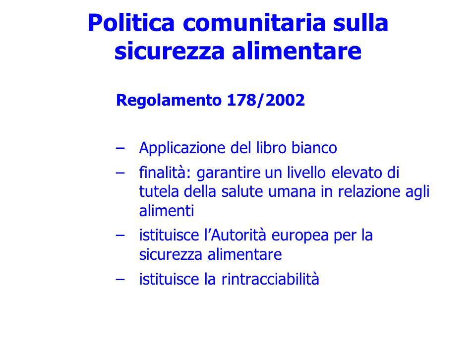 Politica comunitaria sulla sicurezza alimentare Regolamento 178/2002 –Applicazione del libro bianco –finalità: garantire un livello elevato di tutela