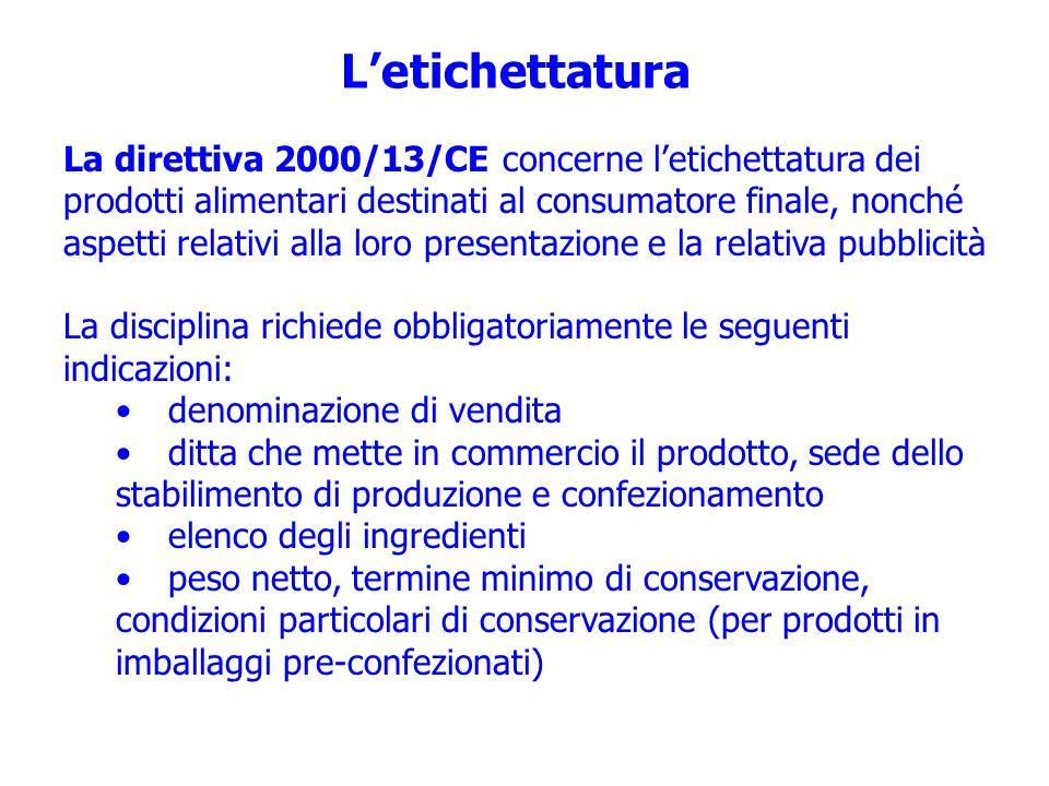Letichettatura La direttiva 2000/13/CE concerne letichettatura dei prodotti alimentari destinati al consumatore finale, nonché aspetti relativi alla l