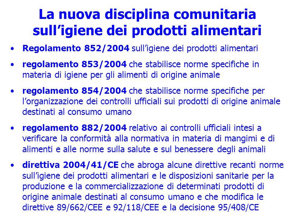 La nuova disciplina comunitaria sulligiene dei prodotti alimentari Regolamento 852/2004 sulligiene dei prodotti alimentari regolamento 853/2004 che st