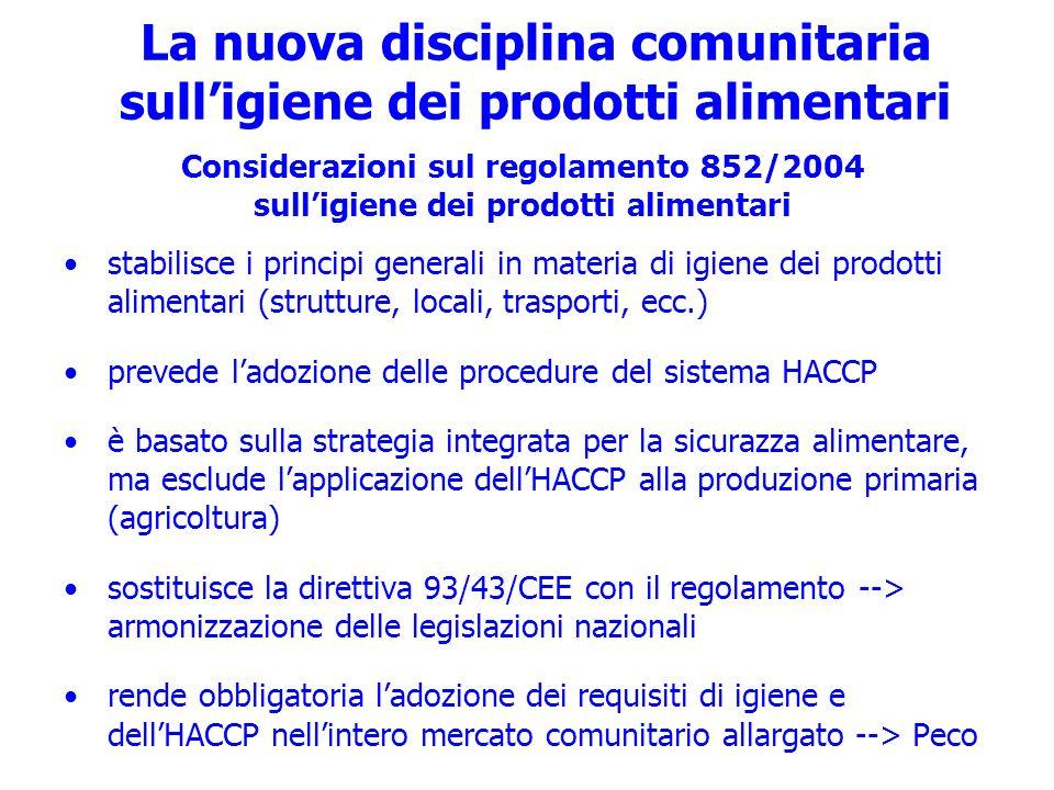 La nuova disciplina comunitaria sulligiene dei prodotti alimentari Considerazioni sul regolamento 852/2004 sulligiene dei prodotti alimentari stabilis