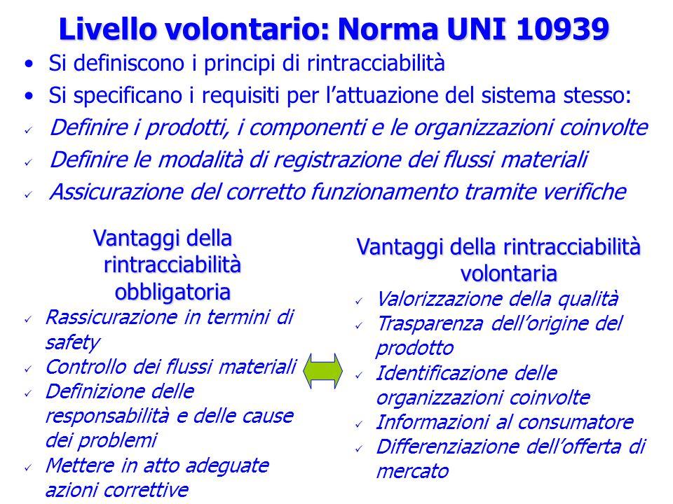 Livello volontario: Norma UNI 10939 Si definiscono i principi di rintracciabilità Si specificano i requisiti per lattuazione del sistema stesso: Defin