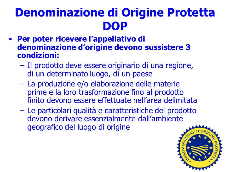 Denominazione di Origine Protetta DOP Per poter ricevere lappellativo di denominazione dorigine devono sussistere 3 condizioni: –Il prodotto deve esse