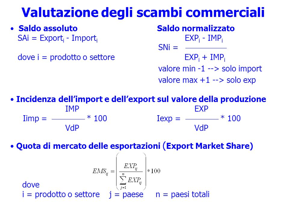 Valutazione degli scambi commerciali Saldo assoluto Saldo normalizzato SAi = Export i - Import i EXP i - IMP i SNi = dove i = prodotto o settore EXP i