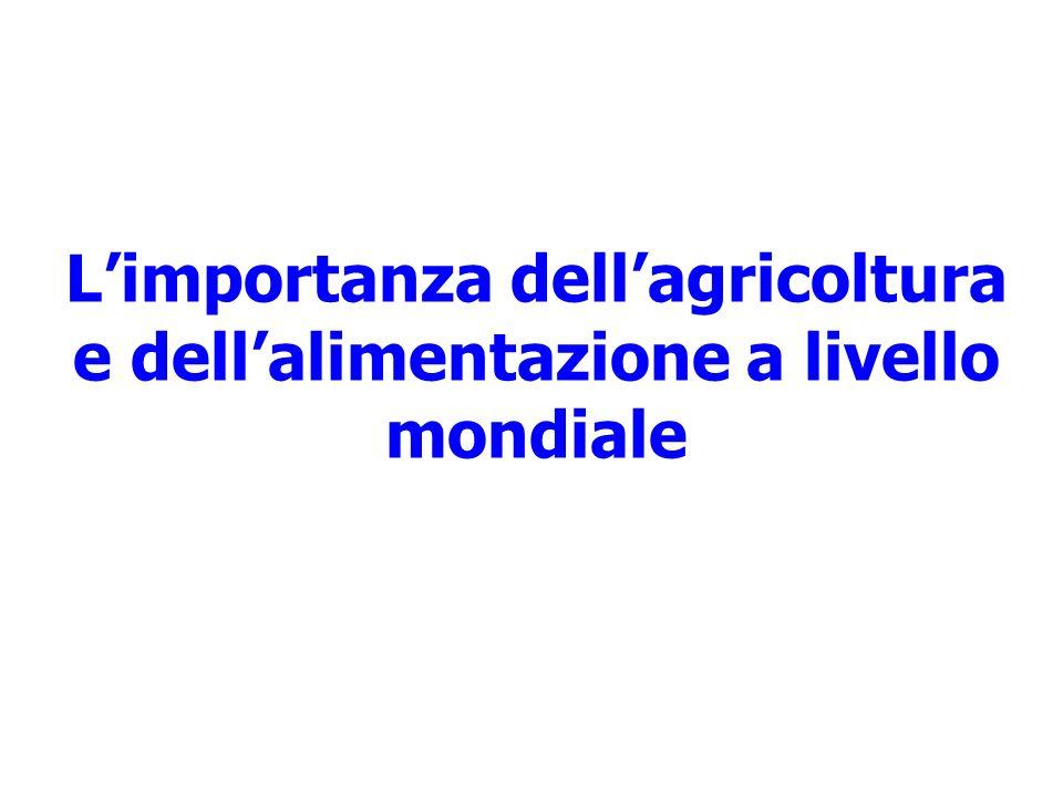 Limportanza dellagricoltura e dellalimentazione a livello mondiale