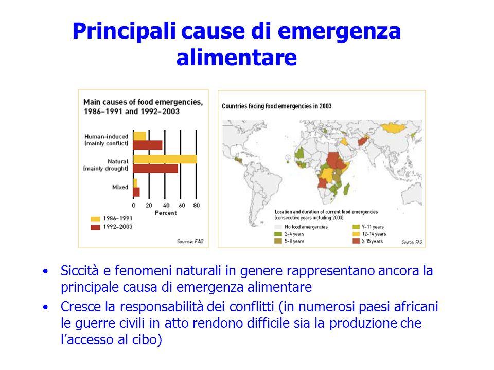 Principali cause di emergenza alimentare Siccità e fenomeni naturali in genere rappresentano ancora la principale causa di emergenza alimentare Cresce