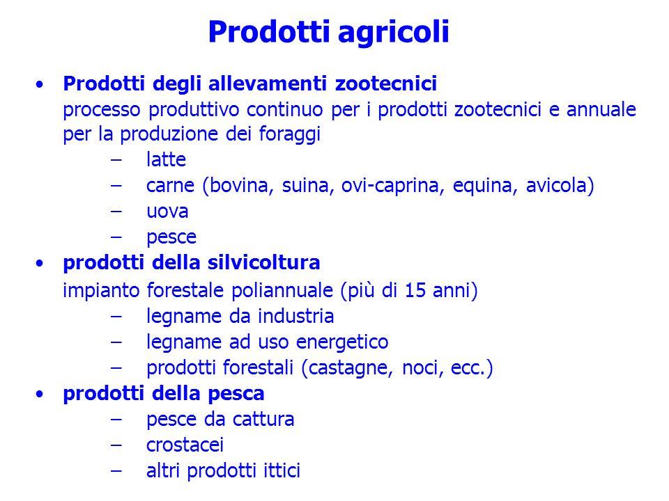 Prodotti agricoli Prodotti degli allevamenti zootecnici processo produttivo continuo per i prodotti zootecnici e annuale per la produzione dei foraggi