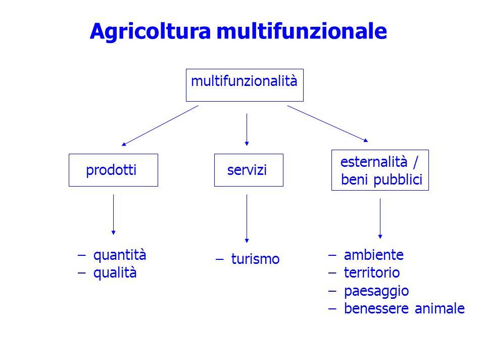 Agricoltura multifunzionale prodotti multifunzionalità esternalità / beni pubblici –quantità –qualità –ambiente –territorio –paesaggio –benessere anim