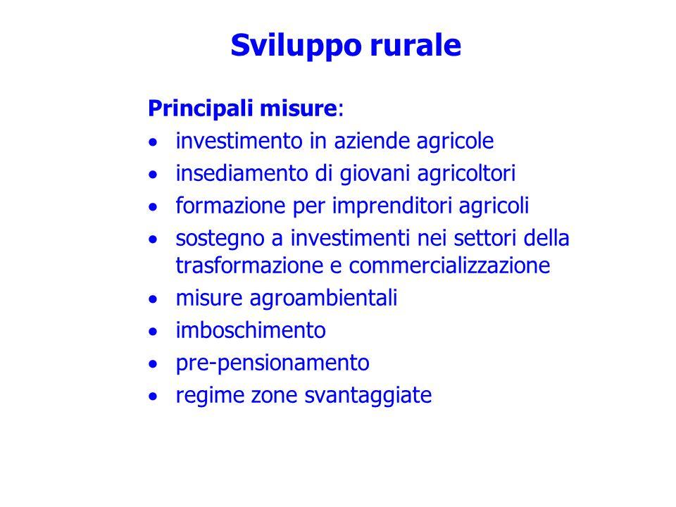 Sviluppo rurale Principali misure: investimento in aziende agricole insediamento di giovani agricoltori formazione per imprenditori agricoli sostegno