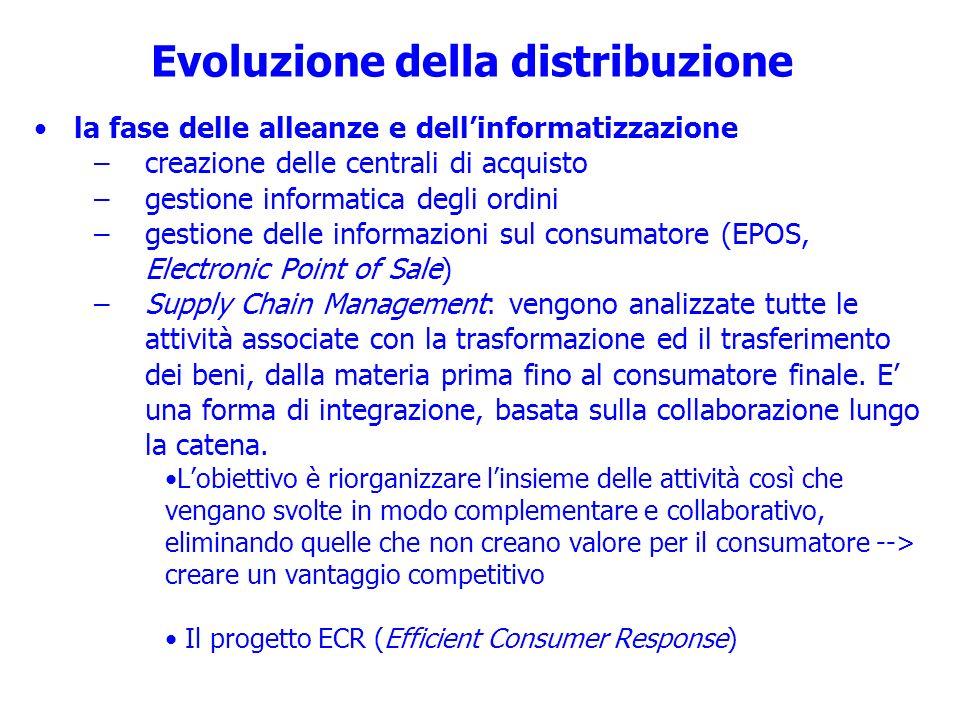Evoluzione della distribuzione la fase delle alleanze e dellinformatizzazione –creazione delle centrali di acquisto –gestione informatica degli ordini