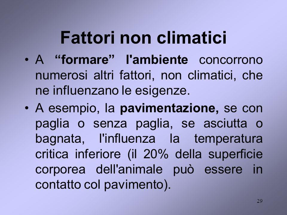 29 Fattori non climatici A formare l'ambiente concorrono numerosi altri fattori, non climatici, che ne influenzano le esigenze. A esempio, la paviment