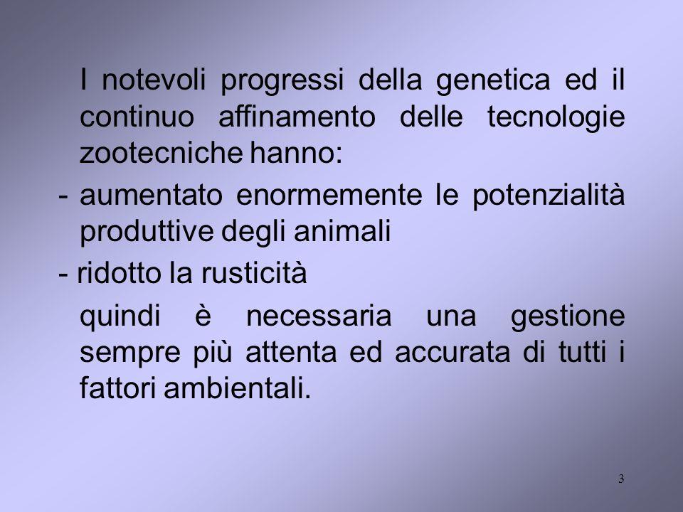 3 I notevoli progressi della genetica ed il continuo affinamento delle tecnologie zootecniche hanno: -aumentato enormemente le potenzialità produttive