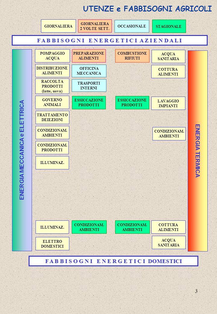 3 ENERGIA MECCANICA e ELETTRICA ENERGIA TERMICA F A B B I S O G N I E N E R G E T I C I A Z I E N D A L I CONDIZIONAM. AMBIENTI CONDIZIONAM. PRODOTTI