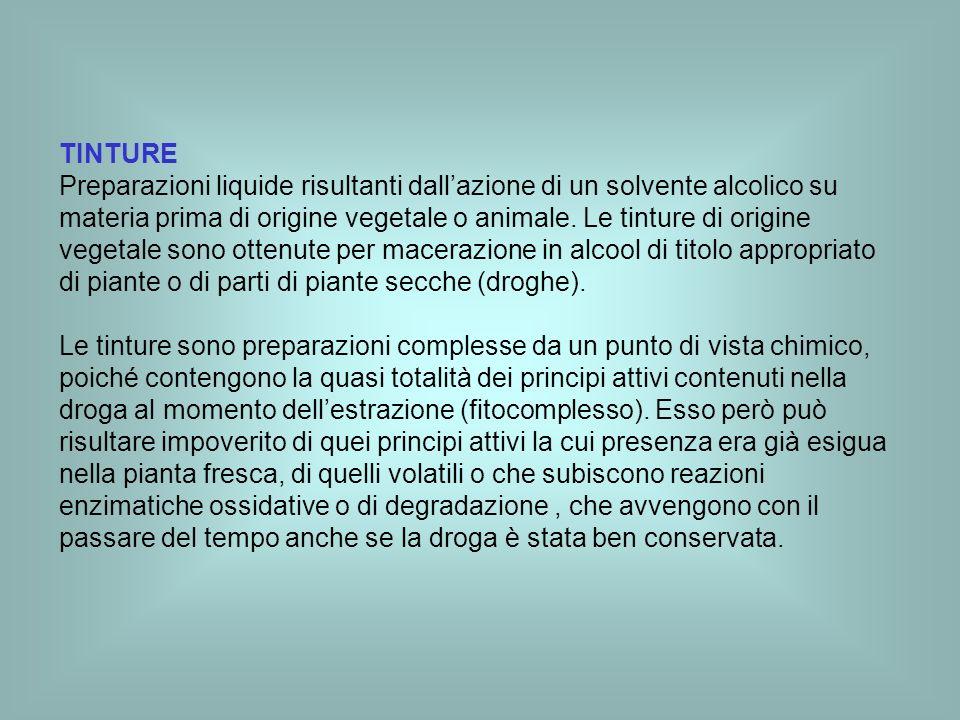 TINTURE Preparazioni liquide risultanti dallazione di un solvente alcolico su materia prima di origine vegetale o animale. Le tinture di origine veget