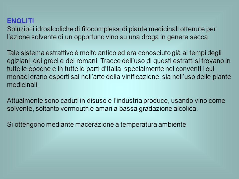ENOLITI Soluzioni idroalcoliche di fitocomplessi di piante medicinali ottenute per lazione solvente di un opportuno vino su una droga in genere secca.