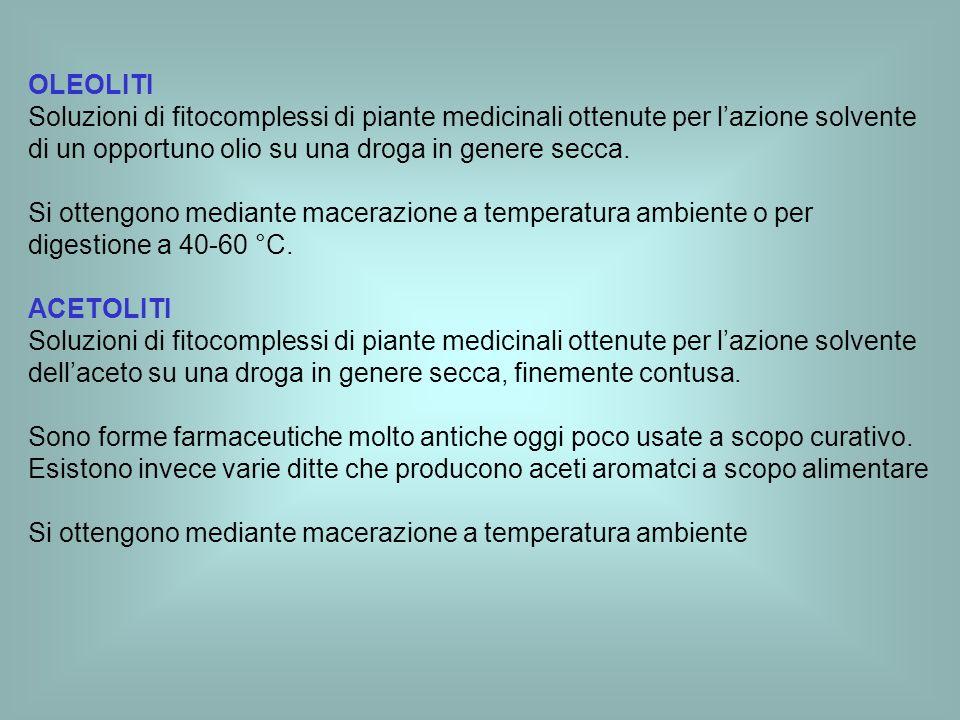 OLEOLITI Soluzioni di fitocomplessi di piante medicinali ottenute per lazione solvente di un opportuno olio su una droga in genere secca. Si ottengono