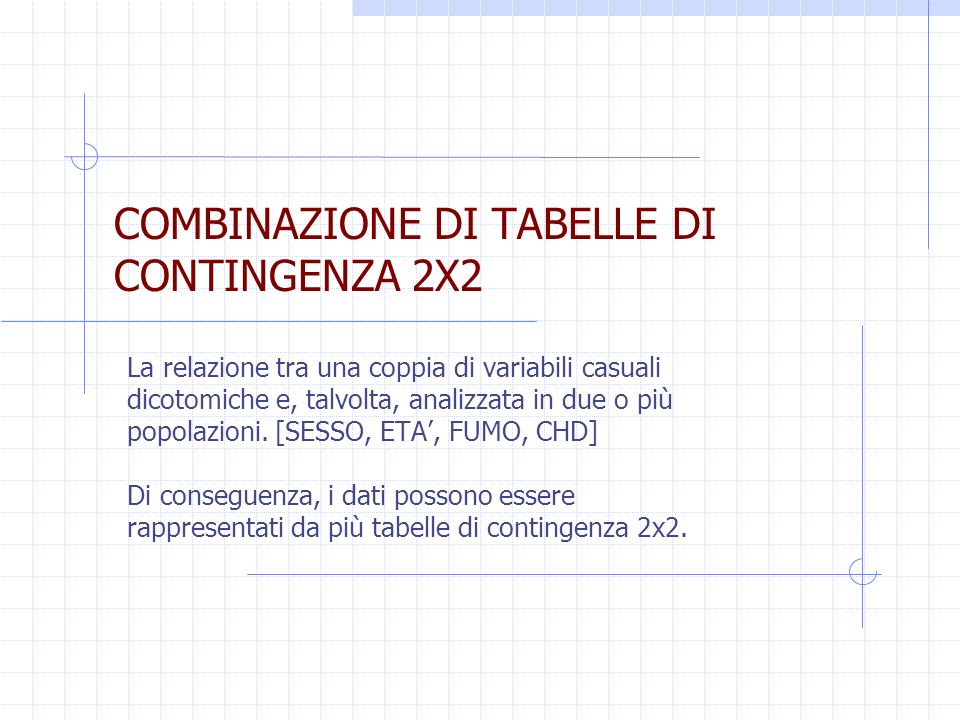 COMBINAZIONE DI TABELLE DI CONTINGENZA 2X2 La relazione tra una coppia di variabili casuali dicotomiche e, talvolta, analizzata in due o più popolazio