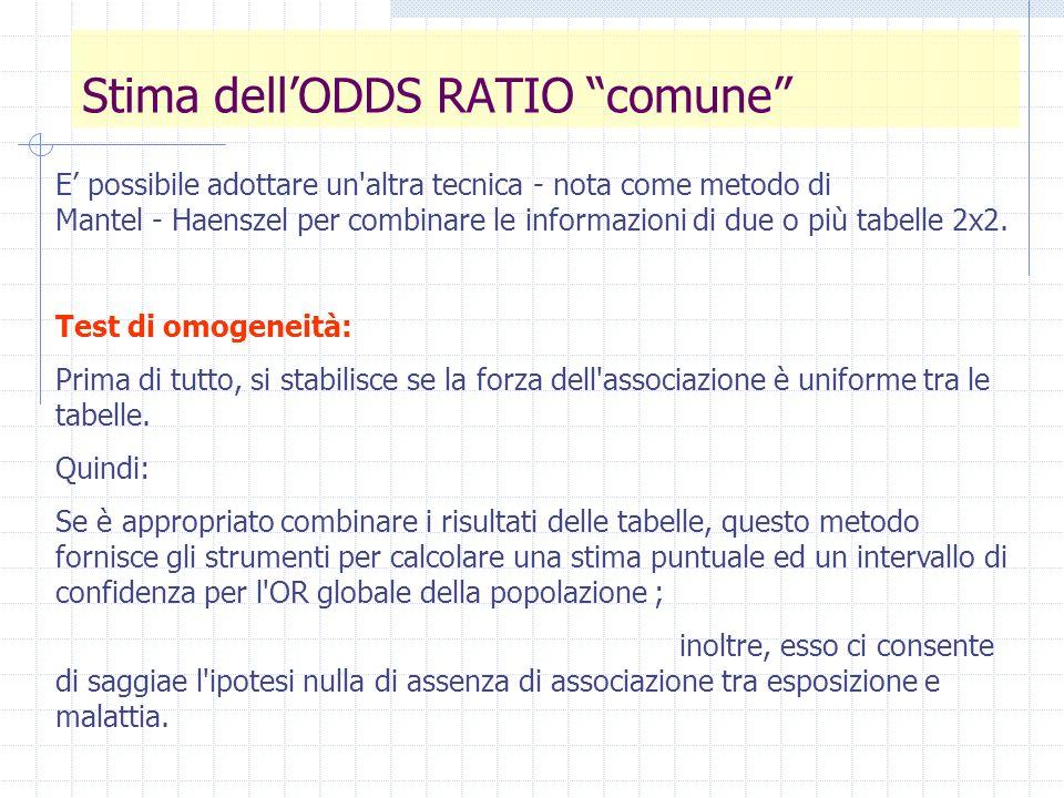 Test di omogeneità Prima di combinare le tabelle di contingenza, dobbiamo verificare che gli OR della popolazione siano realmente uguali tra le tabelle.