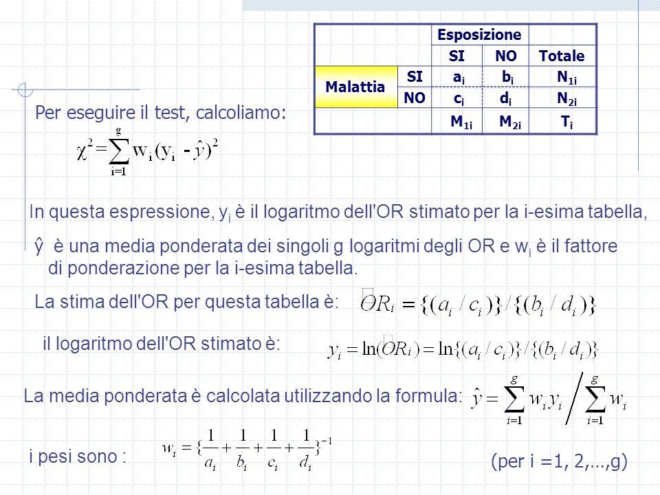 L errore standard stimato di del rischio combinato La quantità ŷ che abbiamo calcolato per il test di omogeneità, è la media pesata dei diversi logaritmi degli OR e rappresenta uno stimatore di ln(OR).