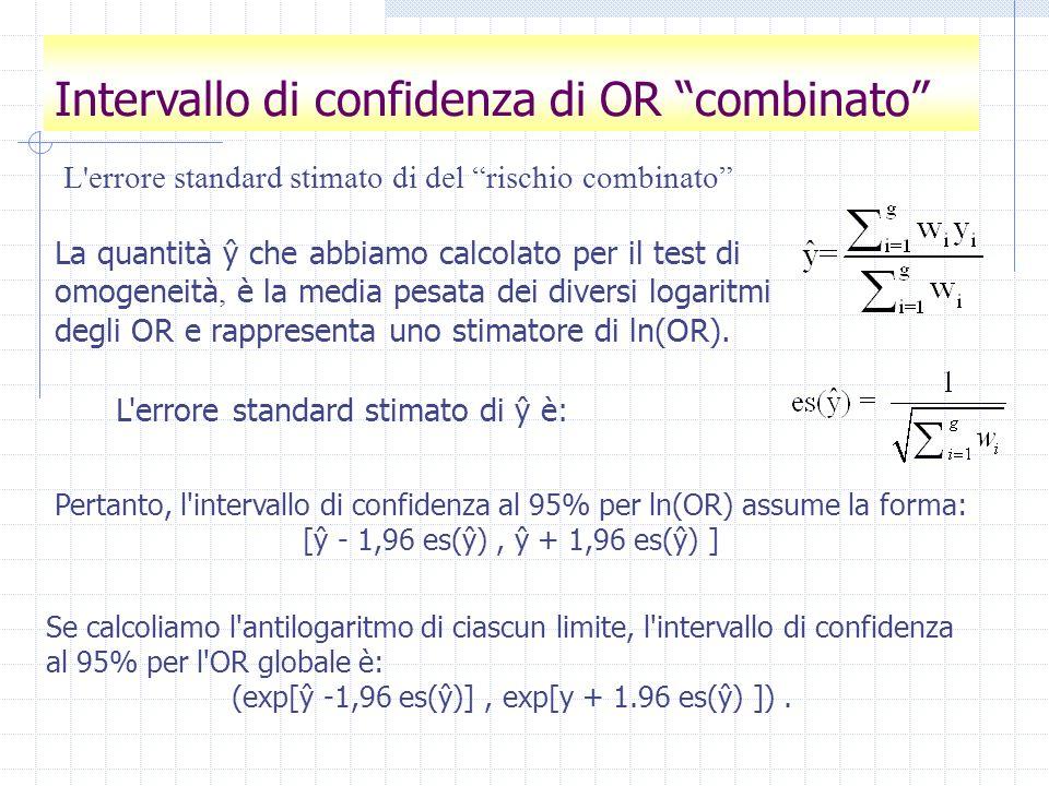 L'errore standard stimato di del rischio combinato La quantità ŷ che abbiamo calcolato per il test di omogeneità, è la media pesata dei diversi logari