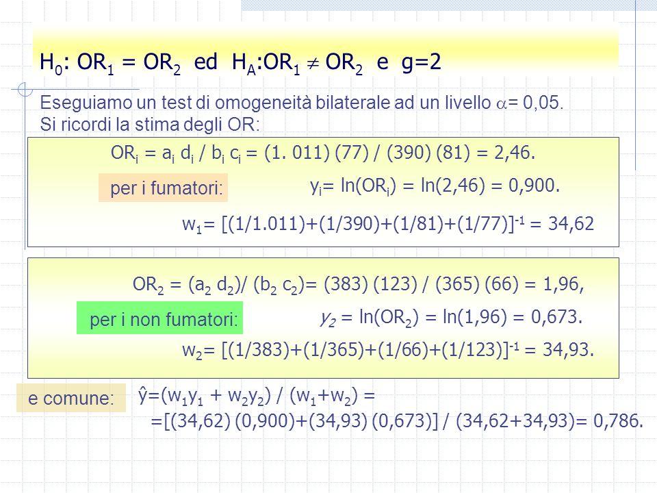 sca a=37 sca b=25 sca c= 24 sca d=20 sca e=14 sca f=29 sca g=19 sca h=47 sca OR1 =(a)*(d)/(b)/(c) sca OR2 =(e)*(h)/(f)/(g) sca ORT = (51)*(67) / ((54)*(43)) sca LORT= log(ORT) sca LOR1= log(OR1) sca LOR2= log(OR2) sca W2 = ((1/a)+(1/b)+(1/c)+(1/d))^(-1) sca W1 = ((1/e)+(1/f)+(1/g)+(1/h))^(-1) sca Y = (W1*LOR1+W2*LOR2)/(W2+W1) sca ChiOmo= W1*(LOR1-Y)^2+W2*(LOR2-Y)^2 sca ORMH=exp(Y) sca list OR1 OR2 LORT LOR1 W2 W1 Y ORMH ChiOmo Conti per la tabella (fumo-stenosi-genere) OR1 = 1.2333333 OR2 = 1.1941924 LORT =.38633409 LOR1 =.20972053 W2 = 5.561132 W1 = 6.3014476 Y =.19460166 OR MH = 1.214827