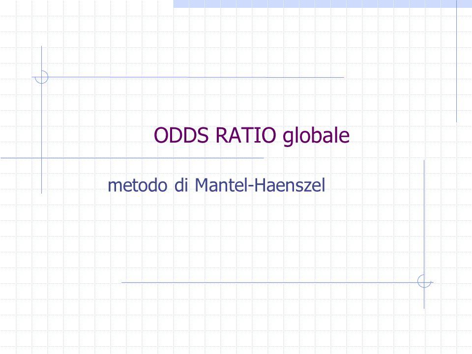 ODDS RATIO globale Se gli OR sono uguali tra le tabelle calcoliamo la stima della forza dell associazione.
