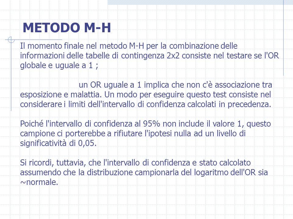 METODO M-H Il momento finale nel metodo M-H per la combinazione delle informazioni delle tabelle di contingenza 2x2 consiste nel testare se l'OR globa