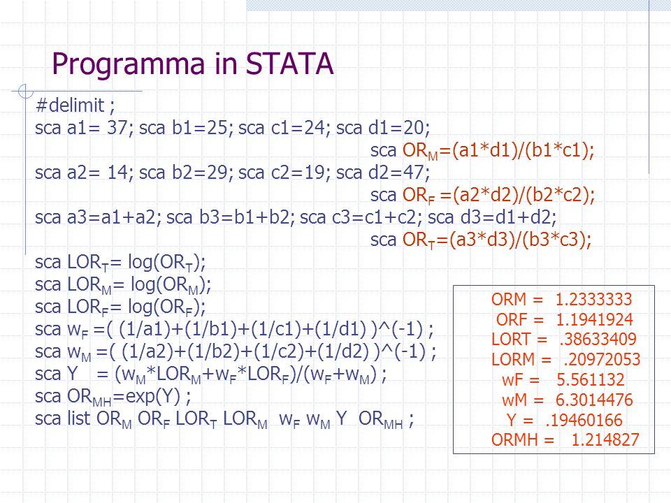Programma in STATA #delimit ; sca a1= 37; sca b1=25; sca c1=24; sca d1=20; sca OR M =(a1*d1)/(b1*c1); sca a2= 14; sca b2=29; sca c2=19; sca d2=47; sca