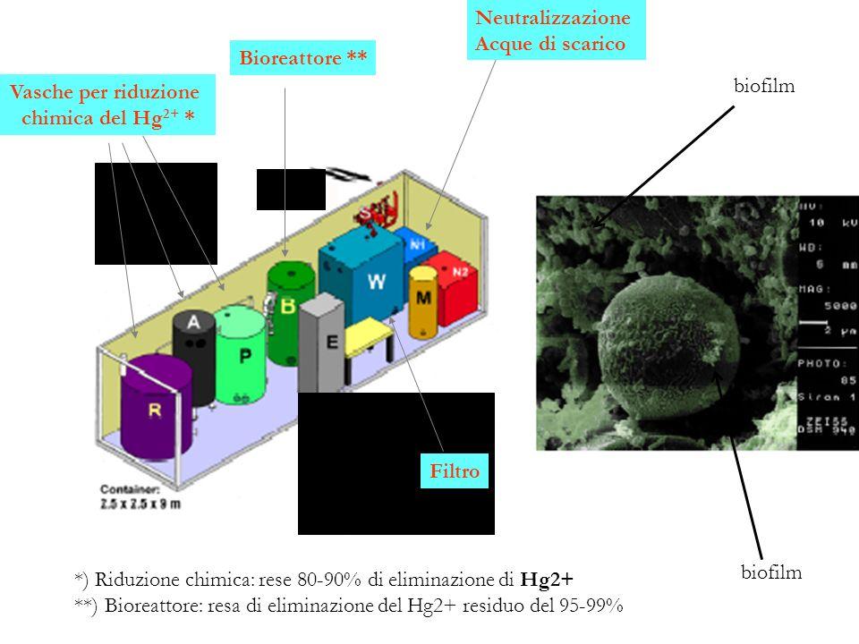 Vasche per riduzione chimica del Hg 2+ * Bioreattore ** Neutralizzazione Acque di scarico *) Riduzione chimica: rese 80-90% di eliminazione di Hg2+ **
