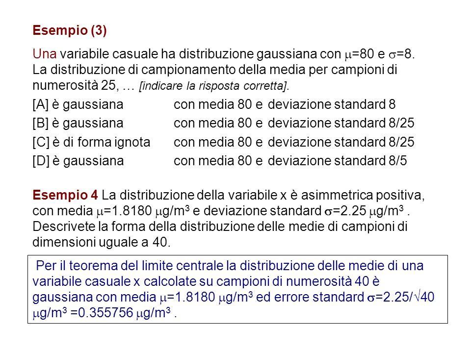 Esempio (3) Una variabile casuale ha distribuzione gaussiana con =80 e =8. La distribuzione di campionamento della media per campioni di numerosità 25