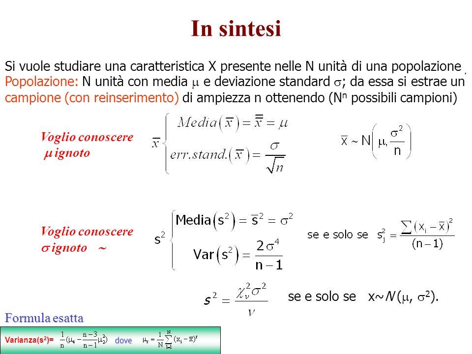 In sintesi Si vuole studiare una caratteristica X presente nelle N unità di una popolazione. Popolazione: N unità con media e deviazione standard ; da