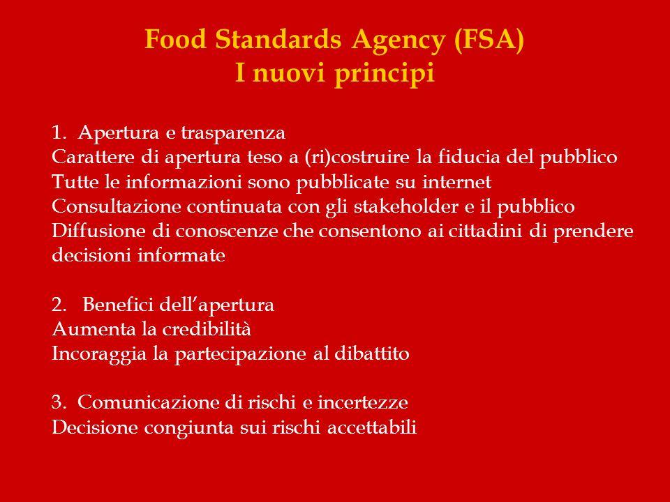 Food Standards Agency (FSA) I nuovi principi 1. Apertura e trasparenza Carattere di apertura teso a (ri)costruire la fiducia del pubblico Tutte le inf