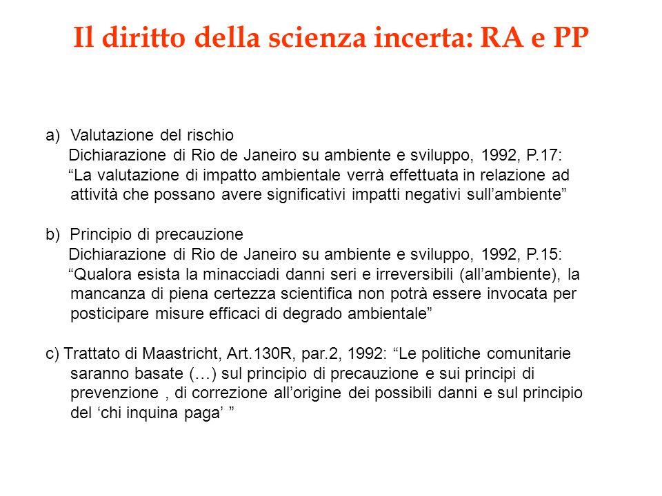 Il diritto della scienza incerta: RA e PP a)Valutazione del rischio Dichiarazione di Rio de Janeiro su ambiente e sviluppo, 1992, P.17: La valutazione