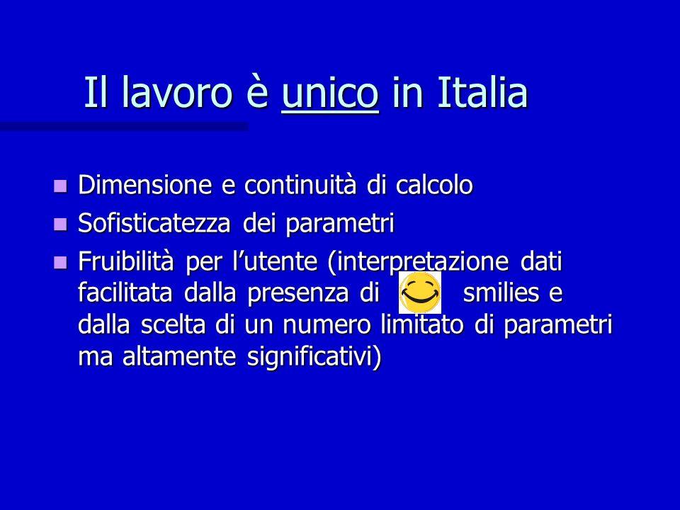 Il lavoro è unico in Italia Dimensione e continuità di calcolo Dimensione e continuità di calcolo Sofisticatezza dei parametri Sofisticatezza dei para