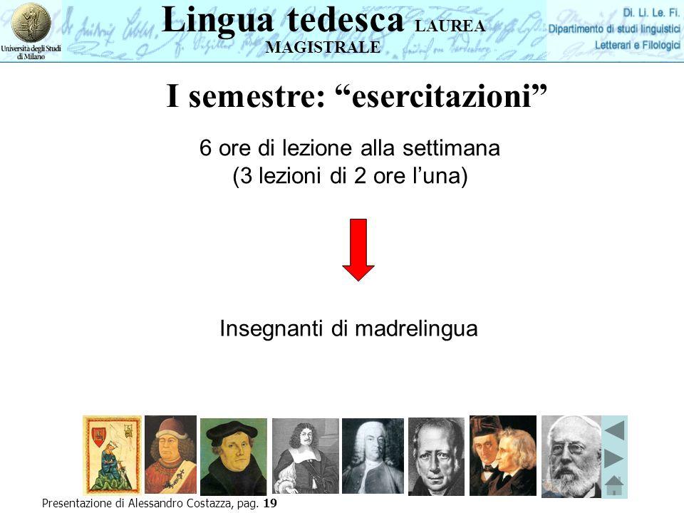 Lingua tedesca LAUREA MAGISTRALE Presentazione di Alessandro Costazza, pag. 19 6 ore di lezione alla settimana (3 lezioni di 2 ore luna) Insegnanti di