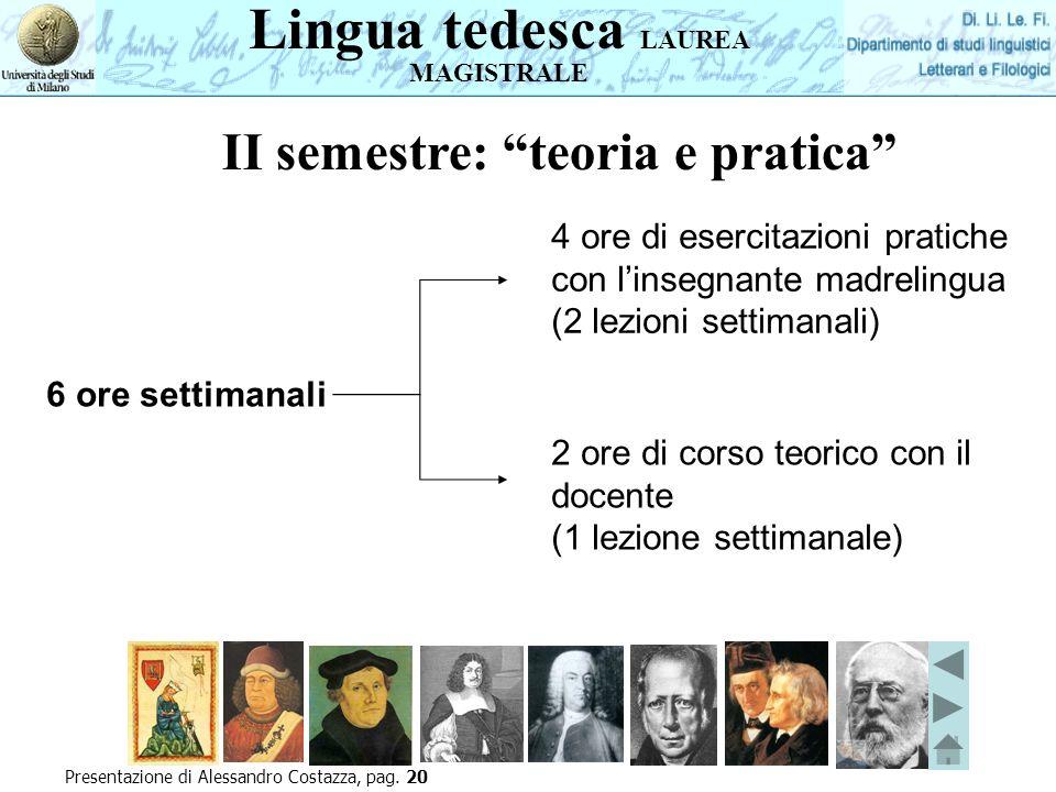 Presentazione di Alessandro Costazza, pag. 20 6 ore settimanali 4 ore di esercitazioni pratiche con linsegnante madrelingua (2 lezioni settimanali) II