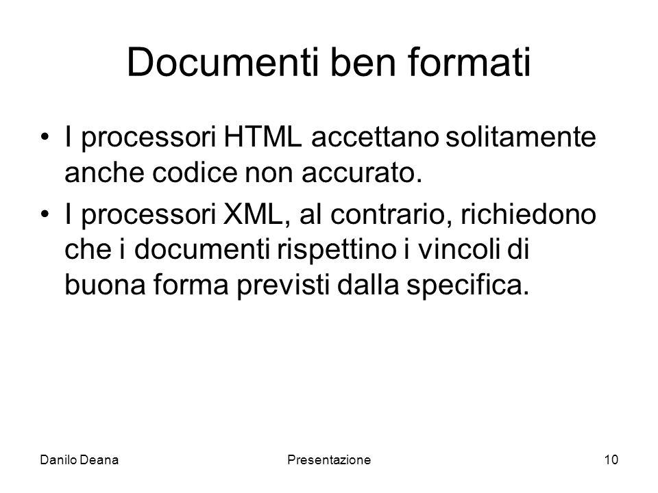 Danilo DeanaPresentazione10 Documenti ben formati I processori HTML accettano solitamente anche codice non accurato.