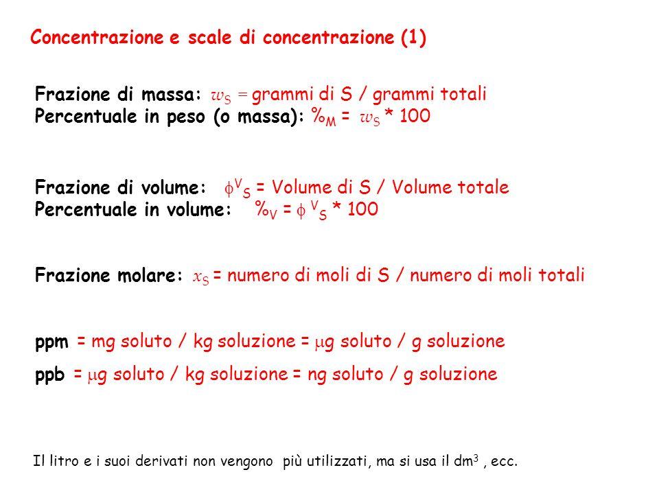 Concentrazione e scale di concentrazione (1) Frazione di massa: w S = grammi di S / grammi totali Percentuale in peso (o massa): % M = w S * 100 Frazi