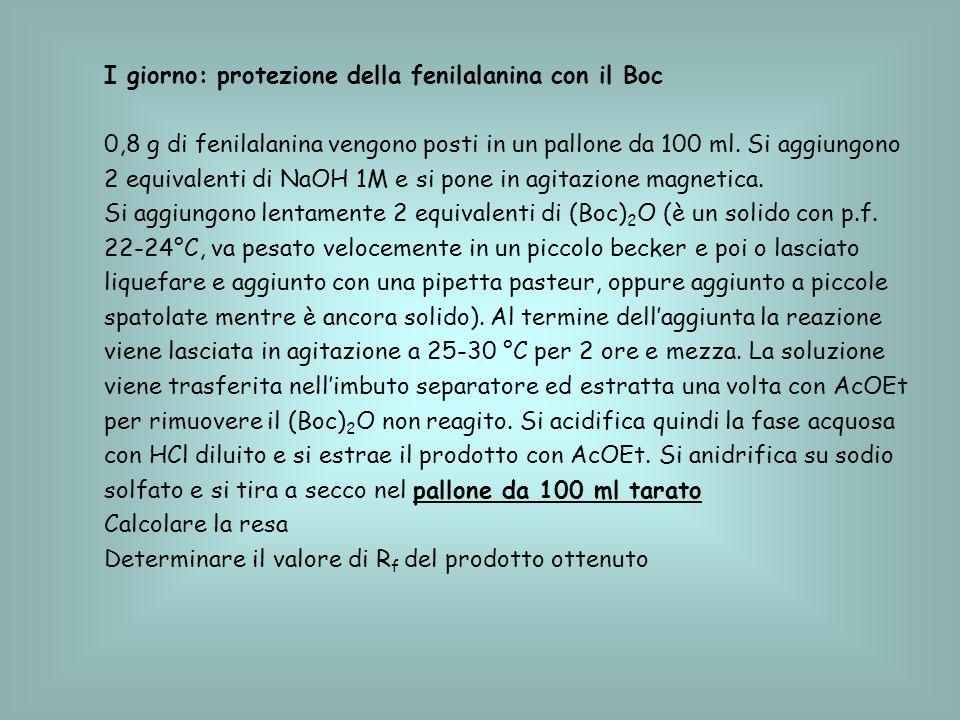 I giorno: protezione della fenilalanina con il Boc 0,8 g di fenilalanina vengono posti in un pallone da 100 ml. Si aggiungono 2 equivalenti di NaOH 1M