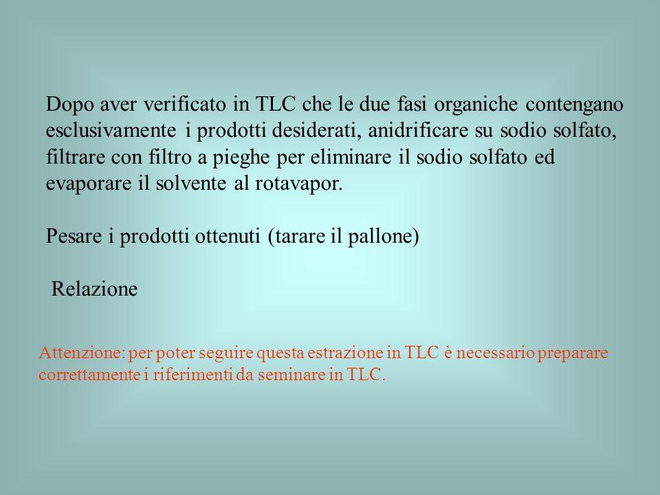 Dopo aver verificato in TLC che le due fasi organiche contengano esclusivamente i prodotti desiderati, anidrificare su sodio solfato, filtrare con fil