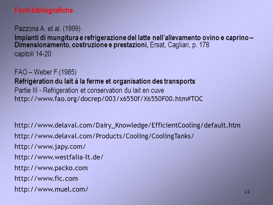 24 Fonti bibliografiche Pazzona A. et al. (1999) Impianti di mungitura e refrigerazione del latte nellallevamento ovino e caprino – Dimensionamento, c