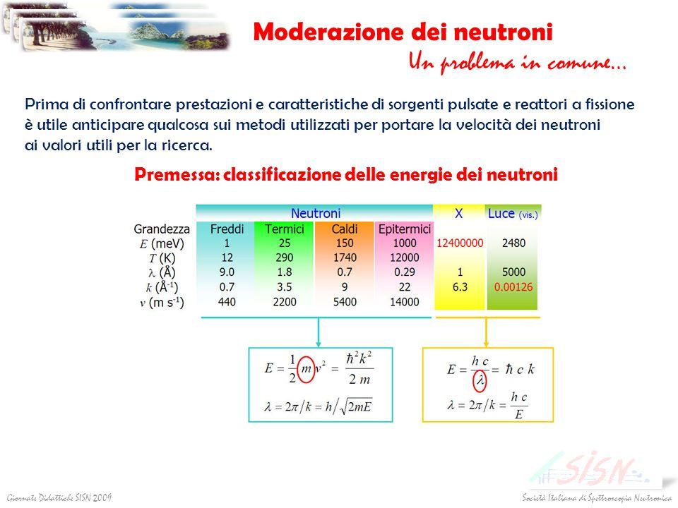 Società Italiana di Spettroscopia NeutronicaGiornate Didattiche SISN 2009 Moderazione dei neutroni Un problema in comune… Prima di confrontare prestaz