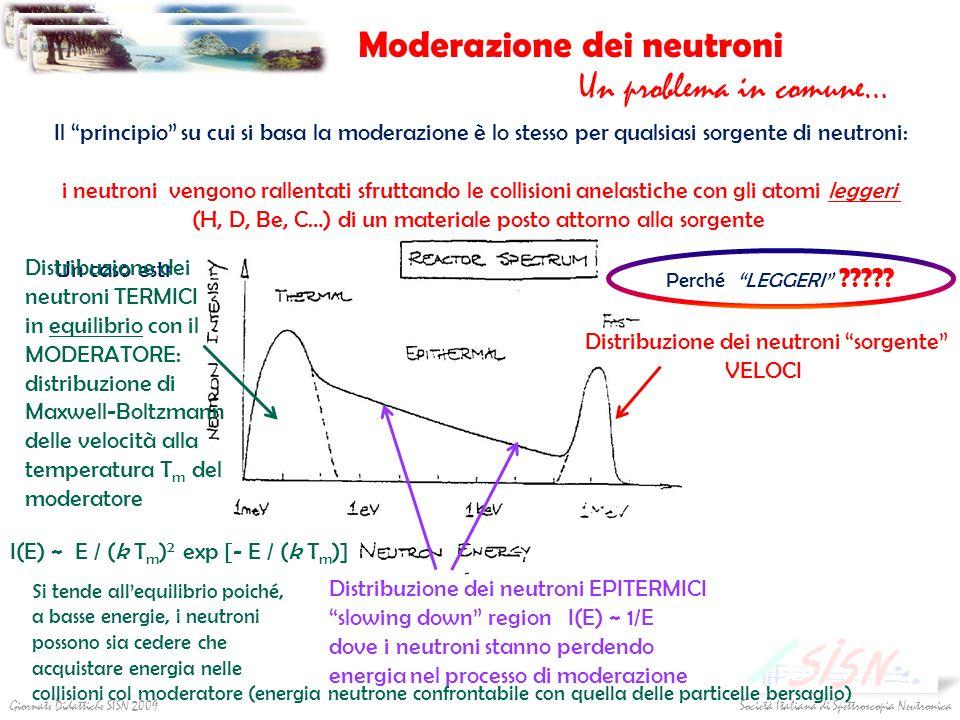 Società Italiana di Spettroscopia NeutronicaGiornate Didattiche SISN 2009 Moderazione dei neutroni Un problema in comune… Il principio su cui si basa