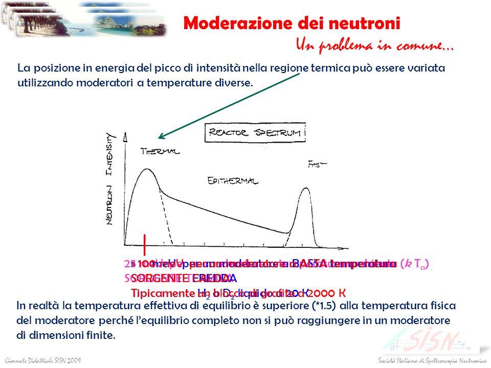 Società Italiana di Spettroscopia NeutronicaGiornate Didattiche SISN 2009 Moderazione dei neutroni Un problema in comune… La posizione in energia del