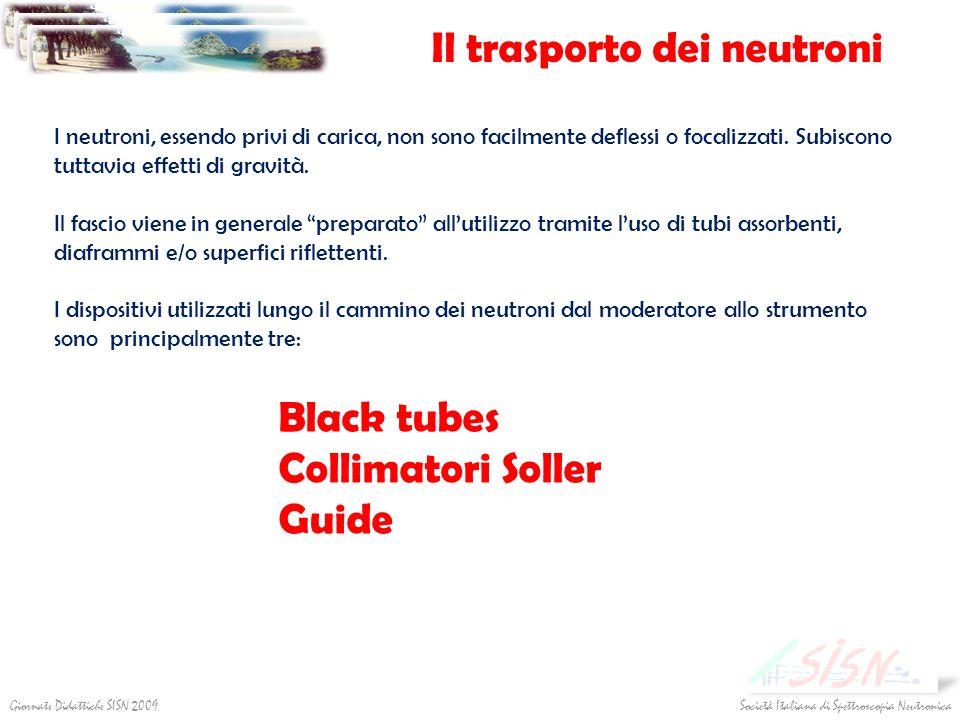 Il trasporto dei neutroni Società Italiana di Spettroscopia NeutronicaGiornate Didattiche SISN 2009 I neutroni, essendo privi di carica, non sono faci