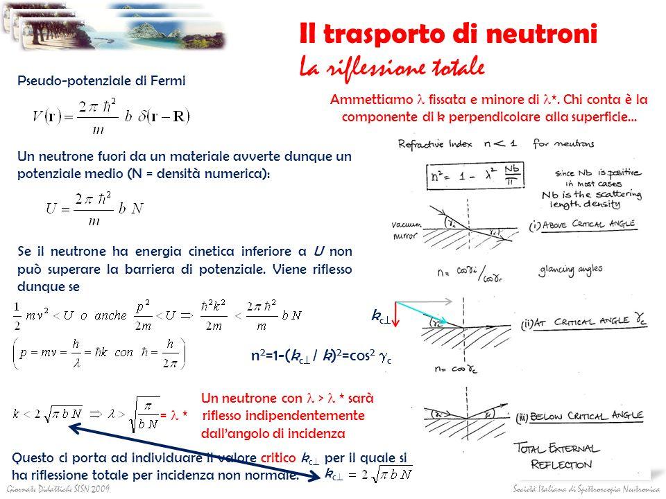 Società Italiana di Spettroscopia NeutronicaGiornate Didattiche SISN 2009 Il trasporto di neutroni La riflessione totale Pseudo-potenziale di Fermi Un
