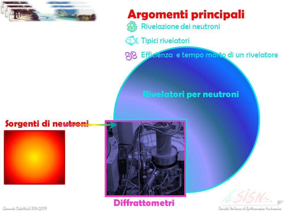 Argomenti principali Società Italiana di Spettroscopia NeutronicaGiornate Didattiche SISN 2009 Diffrattometri Rivelatori per neutroni Rivelazione dei