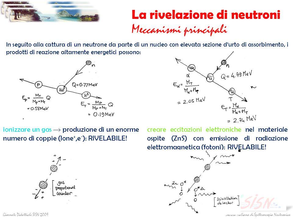 Società Italiana di Spettroscopia NeutronicaGiornate Didattiche SISN 2009 La rivelazione di neutroni Meccanismi principali In seguito alla cattura di